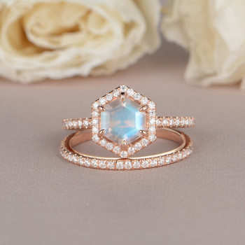 Hexagon Shaped  Moonstone Engagement Ring Rose Gold Bridal Set