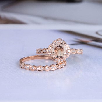 2pcs Rose Gold 7mm Cushion Ring Diamond Band Ring Set