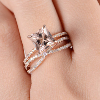 Princess Cut Morganite Ring Rose Gold Engagement Ring Set
