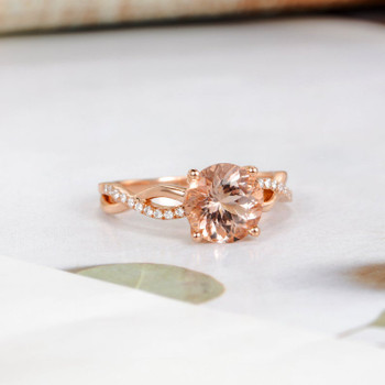 Rose Gold Infinity 8mm Round Morganite Engagement Ring
