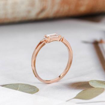 Baguette Cut Diamond Engagement Ring Rose Gold Wedding Ring