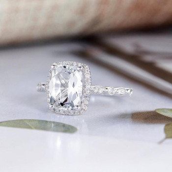 White Topaz Cushion Cut White Gold Engagement Diamond Ring