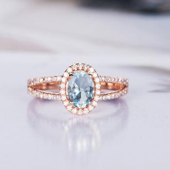 Rose Gold Oval Cut Antique Halo Aquamarine Engagement Ring