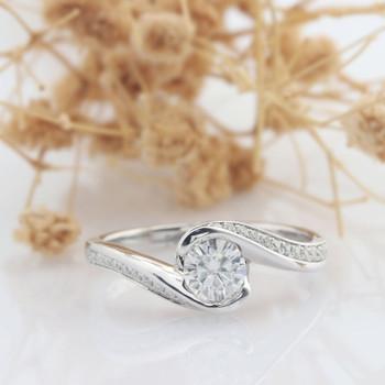 Twist Band Moissanite Ring Engagement Wedding Ring