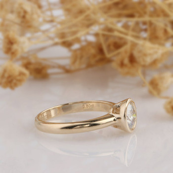 Simple Solitaire 14k Rose Gold Moissanite Engagement Wedding Ring