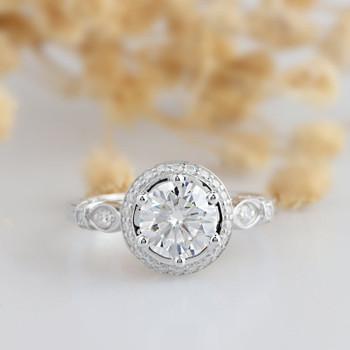 Round Cut Vintage Moissanite Ring Engagement Ring