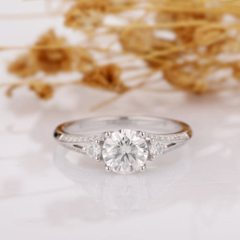 14k White Gold Wedding Ring 6.5mm Round Moissanite Ring