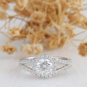 Split Shanks 6.5mm Round Moissanite Engagement Ring