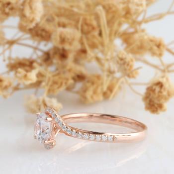 14k   Rose Gold Engagement Ring 6.5mm Moissanite Ring