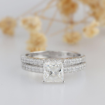 Princess Cut Moissanite Ring Bridal Set Wedding Band Ring Set
