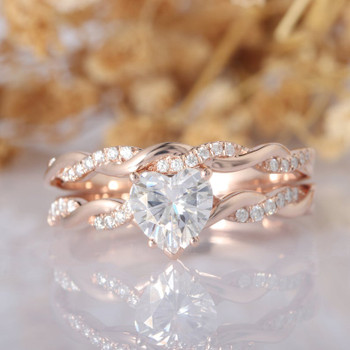 Heart Shape 1ct Center Moissanite Ring Bridal Wedding Ring Set