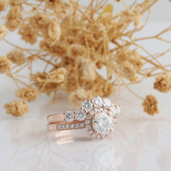 14k Rose Gold Wedding Engagement Ring Vintage Moissanite Ring Set