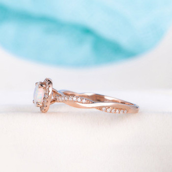 Rose Gold Infinity Opal Ring Engagement Ring Anniversary Ring
