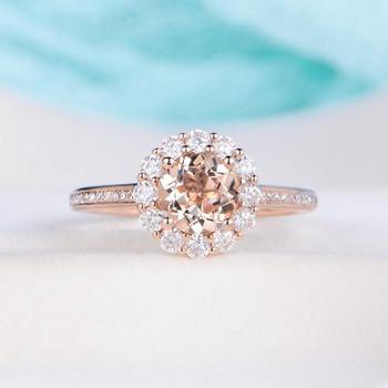 7mm Round Cut Rose Gold Halo Morganite Engagement Wedding Ring