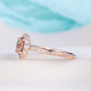 7mm Round Cut Rose Gold Halo Morganite Engagement Wedding Ring