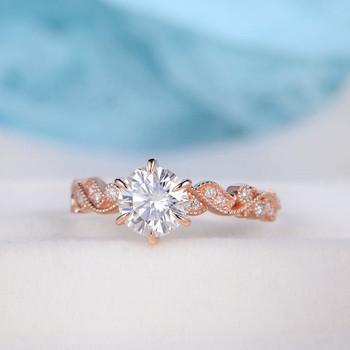 6.5mm Floral Vine Leaf Vintage Ring Moissanite Wedding Ring