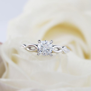 14K White Gold  Round Cut 6.5mm Moissanite Ring Engagement Ring