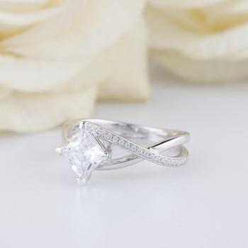 1.0CT Princess Cut Brilliant White Moissanite Ring Wedding Ring