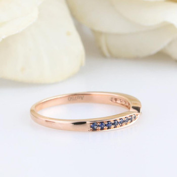 14K Rose Gold Female Ring Natural Blue Sapphire Diamond Wedding Band