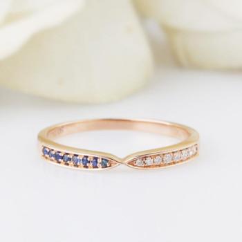 14K Rose Gold Female Ring Natural Blue Sapphire Diamond Wedding Band