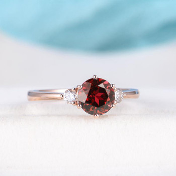 6.5mm  Ruby Engagement Ring Rose Gold Lab Ruby Engagement Ring