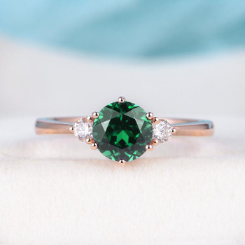 Rose Gold Engagement Ring Lab Emerald Engagement Wedding Ring