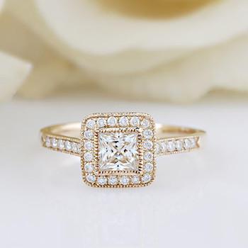 5.5mm Moissanite Center Promise Ring Yellow Gold Wedding Ring