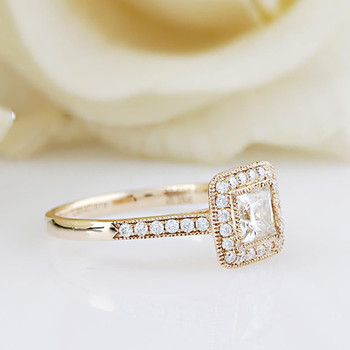 5.5mm Moissanite Center Promise Ring Yellow Gold Wedding Ring