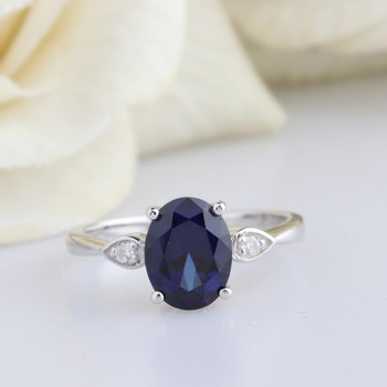 Lab Sapphire 6*8mm Oval Cut Engagement Ring Diamond Engagement Ring