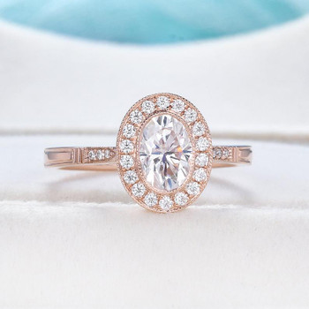 Art Deco 5x7mm Oval Cut Moissanite Ring Rose Gold Engagement Ring