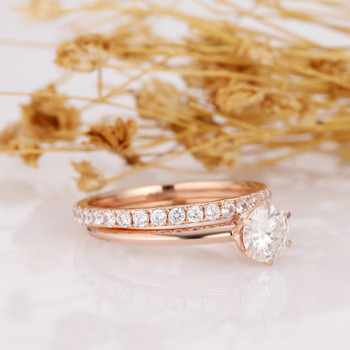 14k Rose Gold Wedding Bridal Set Engagement Ring Accents Band