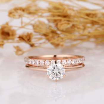 14k Rose Gold Wedding Bridal Set Engagement Ring Accents Band