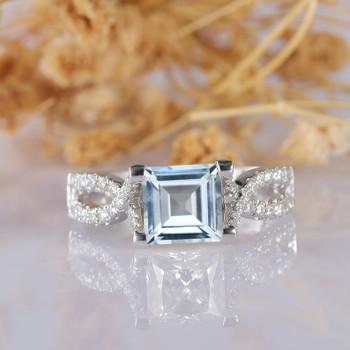 Asscher Cut Aquamarine Wedding Ring 14k White Gold Aquamarine Diamond Ring