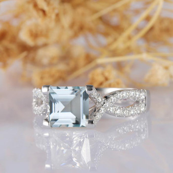 Asscher Cut Aquamarine Wedding Ring 14k White Gold Aquamarine Diamond Ring