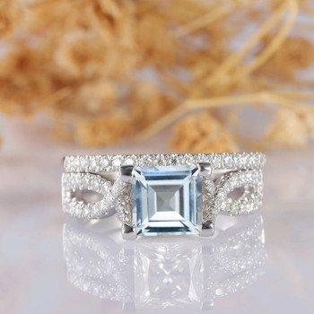 Aquamarine Ring Set 14k White gold Asscher Cut Aquamarine Diamond Band Set
