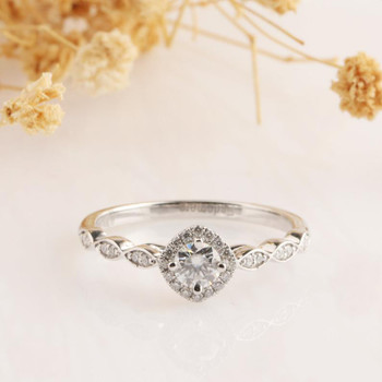 5mm 0.5ct Moissanite Center Halo Engagement Ring, Wedding Ring
