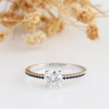 7mm Round Moissanite Black Diamond Wedding Ring Engagement Ring