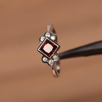 Natural Garnet Engagement Ring Square Cut Sterling Silver Ring January Birthstone