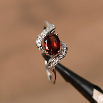 Natural Garnet Ring Oval Garnet Anniversary Ring January Birthstone Ring