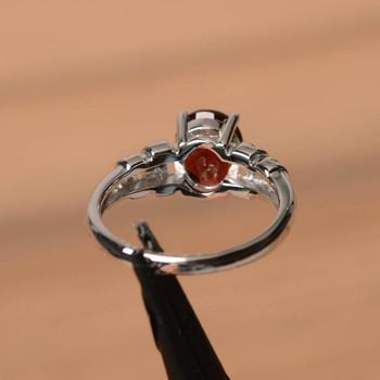Silver Wedding Ring Natural Garnet Ring Red Gems January Birthstone Ring