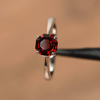 Natural Red Garnet Rings January Birthstone Octagon cut Rings Silver Rings