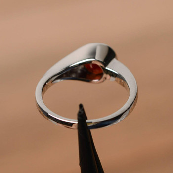 Red Garnet Ring Round Cut Engagement Rings For Her Gemstone Ring