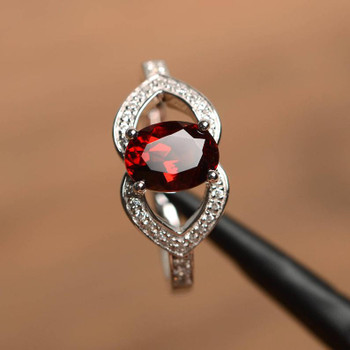 Natural Garnet Ring Oval Cut Garnet Promise Ring January Birthstone