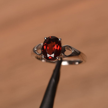Silver Ring Oval Cut Garnet Silver Ring Promise Ring January Birthstone