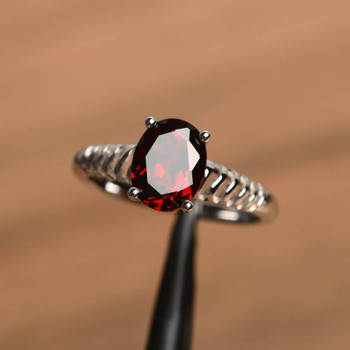 Red Garnet Ring Promise Ring January Birthstone Oval Cut Red Gemstone