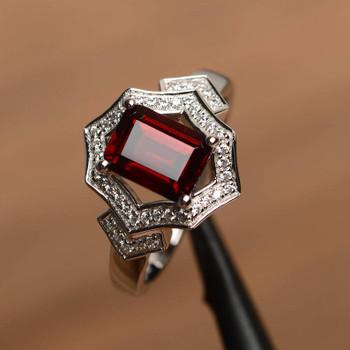 Emerald Cut Red Gemstone Sterling Silver January Birthstone Ring