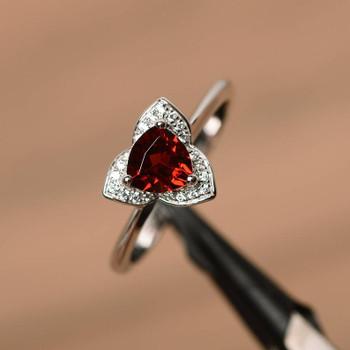Trillion Silver Ring Red Gemstone Ring January Birthstone Ring