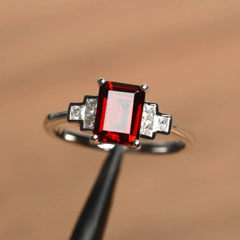 Emerald Cut January Birthstone Ring Engagement Ring For Women