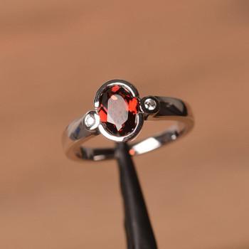 Red Garnet Ring January Birthstone Ring Oval Cut Red Gemstone