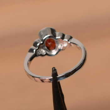 Red Garnet Ring January Birthstone Ring Sterling Silver Ring